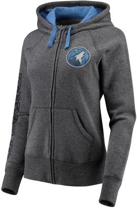 G Iii Women's G-III 4Her by Carl Banks Charcoal/Blue Minnesota Timberwolves Playoff Suede Fleece Full-Zip Jacket