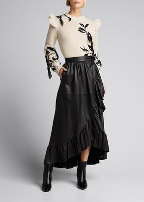 Zimmermann Ladybeetle Leather Wrap Ruffle Skirt