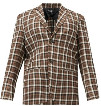 Edward Crutchley Single-breasted Checked Wool Jacket - Brown