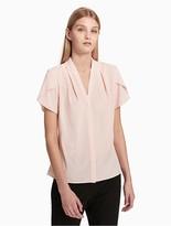 Calvin Klein V-Neck Keyhole Short Sleeve Top