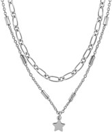 Thumbnail for your product : Sterling Forever Rhodium-Plated Linked Star Charm Layered Necklace