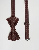 Asos Paisley Bow Tie In Burgundy