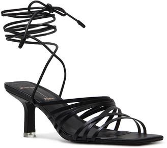 Black Suede Studio Franca Calfskin Strappy Ankle-Tie Sandals