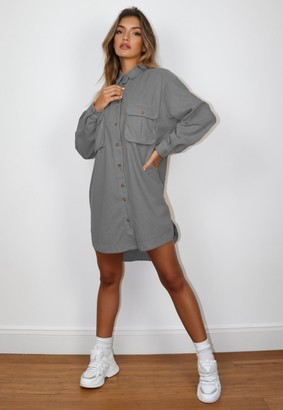 Missguided Charcoal Oversized Fleece Shirt Dress