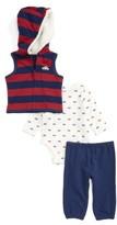 Little Me Infant Boy's Car Vest, Bodysuit & Pants Set