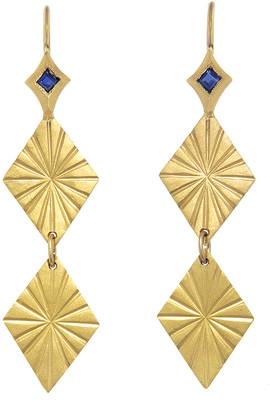Cathy Waterman Blue Sapphire Estrella Double Earrings - Yellow Gold
