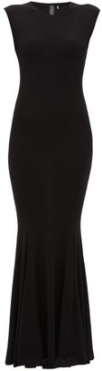 Norma Kamali Fishtail Jersey Maxi Dress - Womens - Black