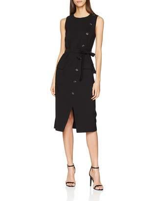 Warehouse Women's Button Crepe A-Line Plain Sleeveless Dress
