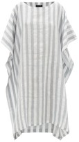 eskandar Striped Linen-blend Dress - Womens - Blue White