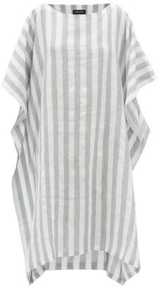eskandar Striped Linen-blend Dress - Blue White