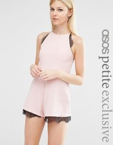 Asos Cami Crepe Romper with Lace Inserts