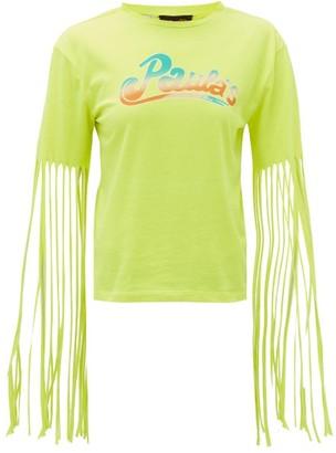 Loewe Paula's Ibiza - Fringed Logo-print Jersey T-shirt - Yellow