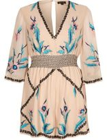 River Island Womens Cream floral embellished kimono romper