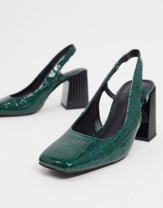 ASOS DESIGN Shea slingback mid heels in green croc