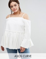 Asos Denim Cold Shoulder Top With Pleated Peplum and Cuff Detail