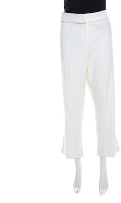 Escada White Stretch Cotton Embellished Waist Detail Cropped Tonikka Pants XL