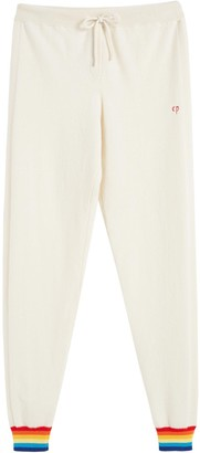 Chinti and Parker Cream Striped Cuff Cashmere Track Pants