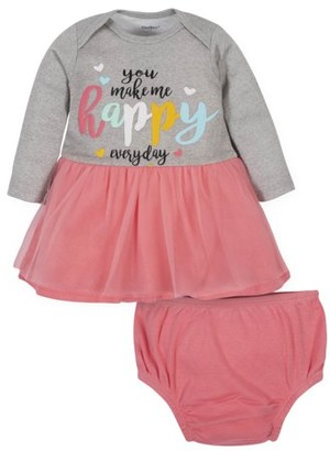 Gerber Baby Girl Organic Dress and Diaper Cover, 2-Piece