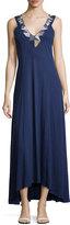 Minnie Rose Beaded V-Neck Sleeveless Maxi Dress, Sapphire