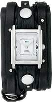 La Mer Women's LMSW1000 Black Silver Stud Analog Display Quartz Black Watch