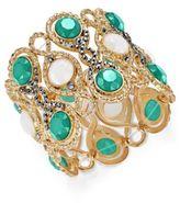 INC International Concepts Gold-Tone Hematite Pavé & Colored Stone Stretch Bracelet, Only at Macy's