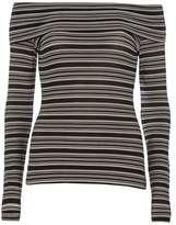 Dorothy Perkins Navy Stripe Foldover Bardot Top