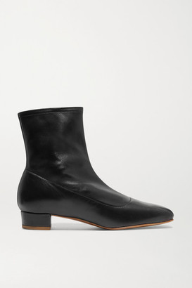 BY FAR Este Leather Ankle Boots - Black
