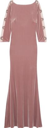 Badgley Mischka Open-back Embellished Tulle-paneled Velvet Gown