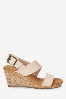 Next Womens Bone Forever Comfort Cork Detail Two Band Wedges - White