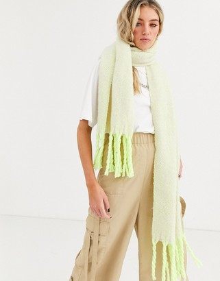 ASOS DESIGN fluffy two tone long scarf