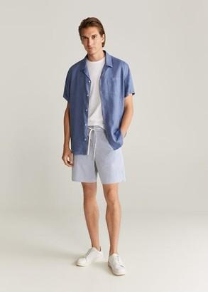 MANGO MAN - Elastic waist cotton Bermuda shorts white - 30 - Men