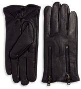 John Varvatos Double Zip Leather Gloves