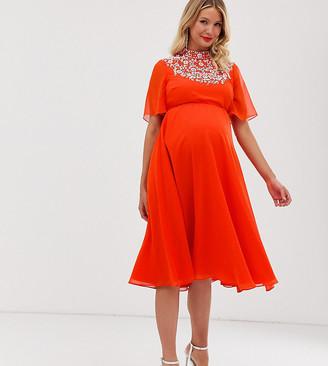 ASOS DESIGN Maternity midi dress with flutter cape and pretty pearl embellishment