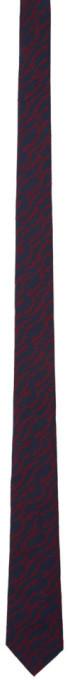 Salvatore Ferragamo Navy and Red Signa Tie