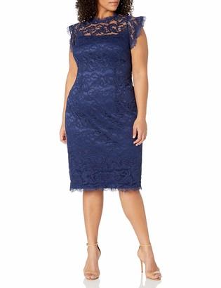 Adrianna Papell Women's Plus Size Womans Ruffled Sleeve Lace Sheath Dress