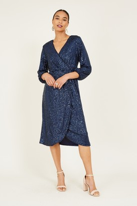 Yumi Navy Sequin Wrap Dress