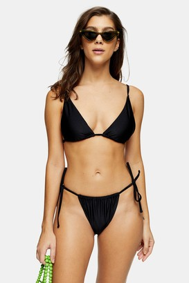 Topshop Womens Considered Black Shiny High Tie Bikini Bottoms - Black