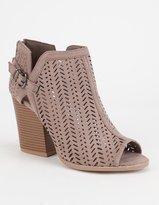 Qupid Laser Cut Womens Heeled Booties