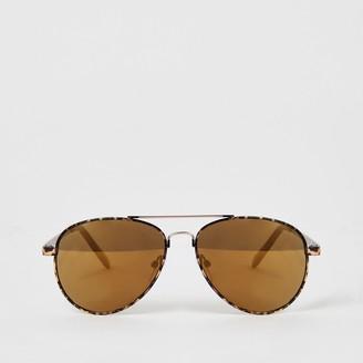 River Island Girls Brown tortoiseshell aviator sunglasses