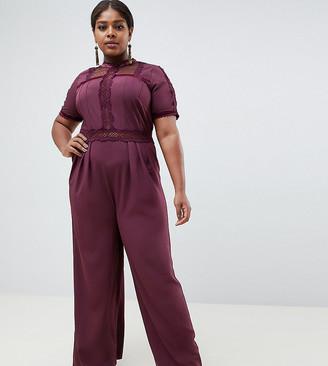 Asos DESIGN Curve tea jumpsuit with lace inserts