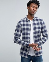 Pull&bear Checked Shirt In Blue In Regular Fit