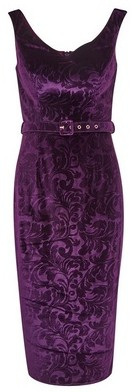 Dorothy Perkins Womens **Showcase Purple 'Vienna' Embossed Midi Dress, Purple