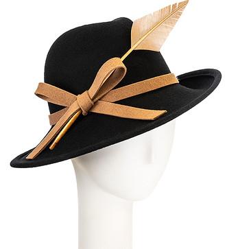 Giovannio Women's Fedoras BLACK - Black Feather-Trim Wool Fedora