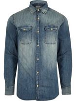 River Island Blue Wash Jack & Jones Faded Denim Shirt