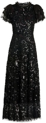 Needle & Thread Sequin-Embellished Shirley Ribbon Midi Dress