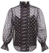 Marc Jacobs Polka-dot Silk-organza Blouse - Womens - Black