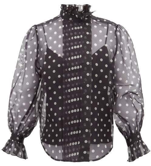 Marc Jacobs Polka Dot Silk Organza Blouse - Womens - Black