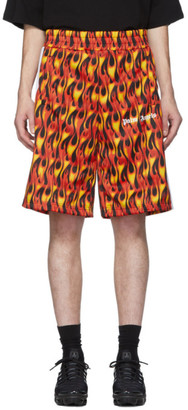Palm Angels Black and Red Burning Shorts