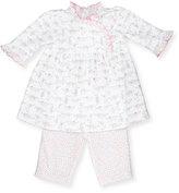 Kissy Kissy Darling Dachshunds Pima Dress w/ Leggings, White/Pink, Size 9-24 Months