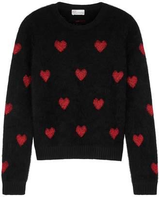 RED Valentino Heart-intarsia Angora-blend Jumper